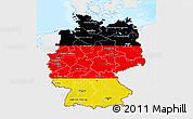 Flag 3D Map of Germany, single color outside, bathymetry sea