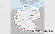 Gray 3D Map of Germany, single color outside