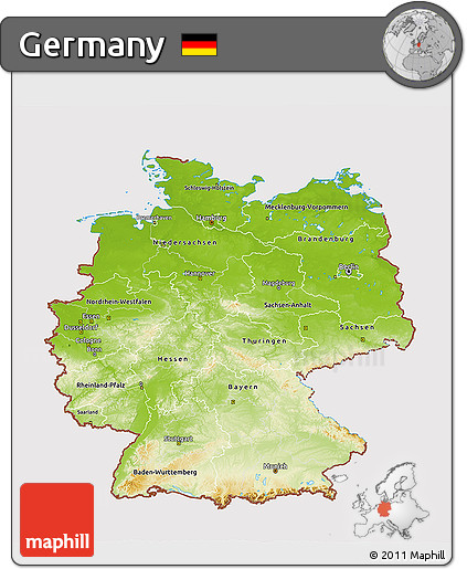Map Of Germany 3d.Free Physical 3d Map Of Germany Cropped Outside