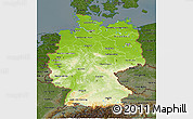 Physical 3D Map of Germany, darken