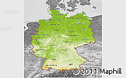 Physical 3D Map of Germany, desaturated