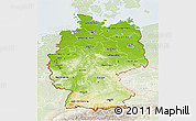 Physical 3D Map of Germany, lighten