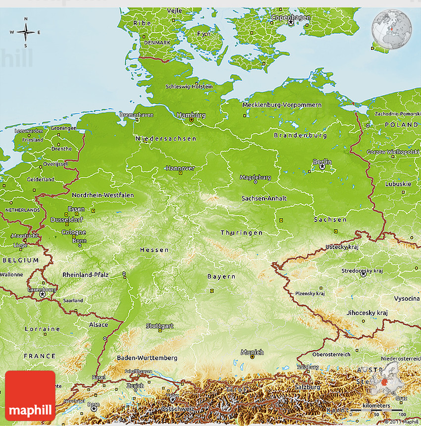 Map Of Germany 3d.Physical 3d Map Of Germany