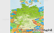 Physical 3D Map of Germany, political outside, shaded relief sea