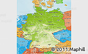 Physical 3D Map of Germany, political shades outside, shaded relief sea