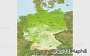 Physical 3D Map of Germany, satellite outside, shaded relief sea
