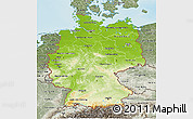 Physical 3D Map of Germany, semi-desaturated, land only