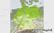 Physical 3D Map of Germany, semi-desaturated