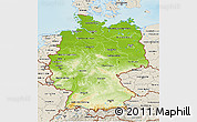 Physical 3D Map of Germany, shaded relief outside