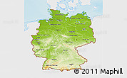 Physical 3D Map of Germany, single color outside