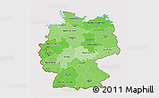 Political Shades 3D Map of Germany, cropped outside
