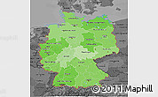 Political Shades 3D Map of Germany, darken, desaturated