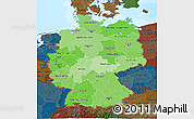 Political Shades 3D Map of Germany, darken, land only