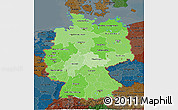 Political Shades 3D Map of Germany, darken