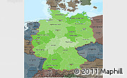 Political Shades 3D Map of Germany, darken, semi-desaturated, land only