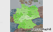 Political Shades 3D Map of Germany, darken, semi-desaturated