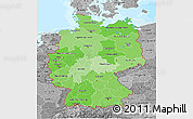 Political Shades 3D Map of Germany, desaturated, land only