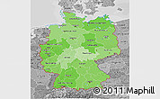 Political Shades 3D Map of Germany, desaturated