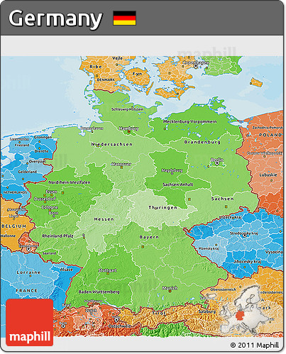 Political Shades 3D Map of Germany