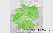 Political Shades 3D Map of Germany, lighten, desaturated