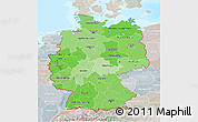 Political Shades 3D Map of Germany, lighten, semi-desaturated, land only