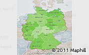 Political Shades 3D Map of Germany, lighten, semi-desaturated