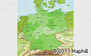 Political Shades 3D Map of Germany, physical outside