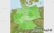 Political Shades 3D Map of Germany, satellite outside, bathymetry sea