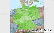 Political Shades 3D Map of Germany, semi-desaturated, land only