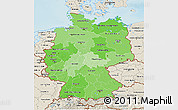 Political Shades 3D Map of Germany, shaded relief outside