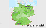 Political Shades 3D Map of Germany, single color outside, bathymetry sea