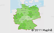 Political Shades 3D Map of Germany, single color outside