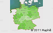 Political Shades 3D Map of Germany, single color outside, satellite sea