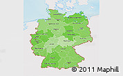 Political Shades 3D Map of Germany, single color outside, shaded relief sea