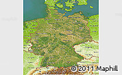 Satellite 3D Map of Germany, physical outside, satellite sea