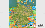 Satellite 3D Map of Germany, political outside, satellite sea