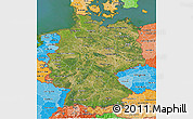 Satellite 3D Map of Germany, political shades outside, satellite sea