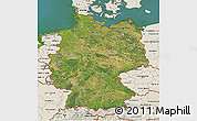 Satellite 3D Map of Germany, shaded relief outside, satellite sea