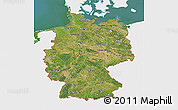 Satellite 3D Map of Germany, single color outside