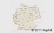 Shaded Relief 3D Map of Germany, cropped outside