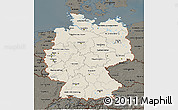 Shaded Relief 3D Map of Germany, darken