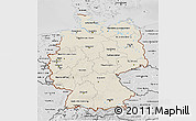 Shaded Relief 3D Map of Germany, desaturated