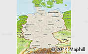 Shaded Relief 3D Map of Germany, physical outside