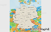 Shaded Relief 3D Map of Germany, political outside, shaded relief sea