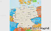 Shaded Relief 3D Map of Germany, political shades outside, shaded relief sea