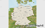Shaded Relief 3D Map of Germany, satellite outside, shaded relief sea