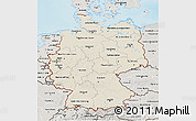 Shaded Relief 3D Map of Germany, semi-desaturated, land only