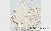 Shaded Relief 3D Map of Germany, semi-desaturated