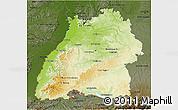 Physical 3D Map of Baden-Württemberg, darken
