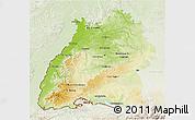Physical 3D Map of Baden-Württemberg, lighten